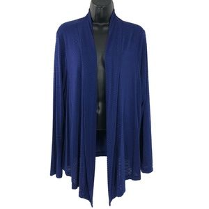 Travelers By Chico's Open Jacket Slinky Blue SZ 2